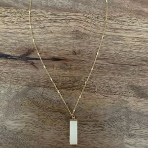 Gold-tone Beaded Chain and Drop Pendant Necklace